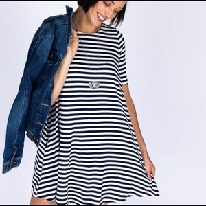 Agnes and Dora navy and white striped swing tunic